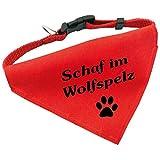 Hunde-Halsband mit Dreiecks-Tuch SCHAF IM WOLFSPELZ, längenverstellbar von 32 - 55 cm, aus Polyester, in rot