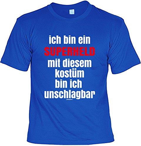 Fun Shirt mit Karneval Motiv: Ich bin ein Superheld. Mit diesem Kostüm bin ich unschlagbar - Shirt für Fasching - Faschingskostüm - royalblau Royalblau
