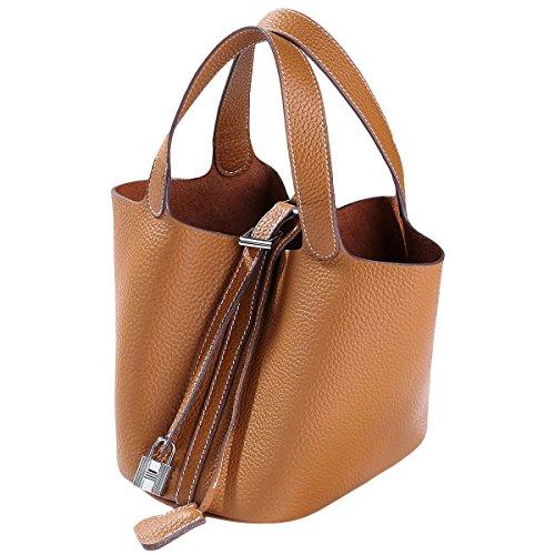 Women's Bag Schulter Handtaschen Totes Shopper Taschen Aus Echtem Leder Einfache Einkaufstaschen Für Damen Mädchen,Khaki-21 * 16 * 37CM -