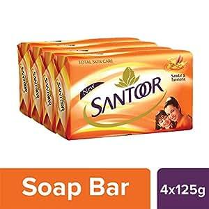 Santoor Sandal And Turmeric Soap, 125g (Pack Of 4)