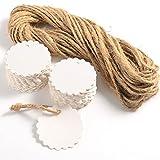 100 x weiße Kraftpapier Geschenkanhänger runden hängenden Label Blanko Gepäck Draw Preisschild mit 20m String Favor