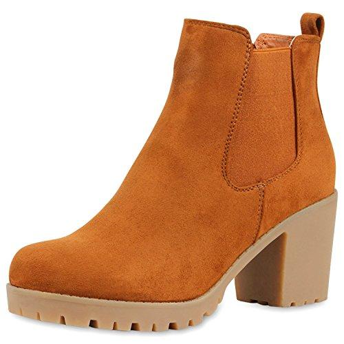 Damen Plateau Stiefelette Chelsea Boots Stiefel Trend Damen STIEFELETTEN CAMEL VELOUR 39 (Camel Kostüme)