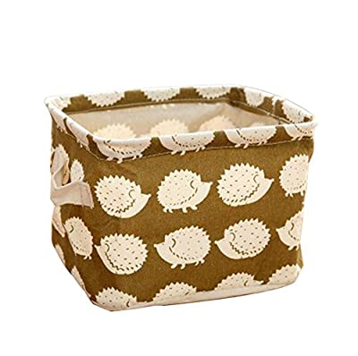 Leisial Mini Square Storage Box Linen and Cotton Organizer Water-Proof Fabic Storage Basket Organizer with 2 Hands on Both Sides - low-cost UK light shop.
