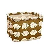 Westeng Portable cesta portaoggetti in lino cotone tessuto Storage box organizzatore desktop cosmetici giocattoli Square Storage Cubes Hedgehog pattern