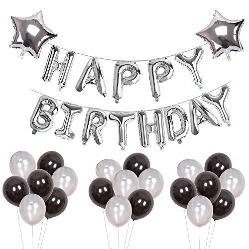 Yoart Geburtstag Dekorationen Silber und Schwarz für Mann und Junge Alles Gute zum Geburtstag Buchstaben Folienballons Banner Latex Ballons Party Decor (Schwarz Und Silber 60. Geburtstag Dekorationen)