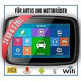 ELEBEST Elebest Rider A5 Pro Navigationsgerät 5 Zoll Motorrad/PKW,Bluetooth,Wasserdicht,Neuste Europa Karten sowie Radarwarner, 24GB Speicher,W-LAN,Internet