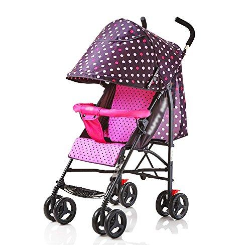 ERRU- Cochecito de bebé puede sentarse Sillas de paseo Reclinable Ligero Mini plegable Sistemas de viaje de acero al aire libre Rosa Niño Cuatro estaciones Universal portátil Azul Cochecitos Carritos con capazo ( Color : Pink )