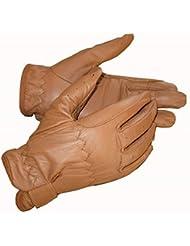 guantes de equitación, piel, color canela, tamaño large