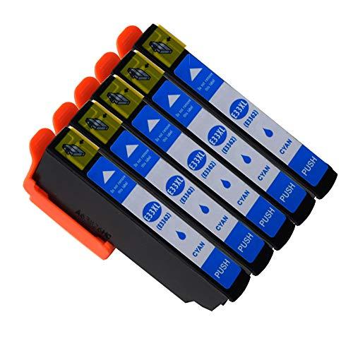 Ouguan Compatibile per Cartucce Epson 33XL 33 per Epson XP-640 XP-530 XP-830 XP-645 XP-540 XP-900 XP-630 XP-635 XP-7100- 5 Ciano