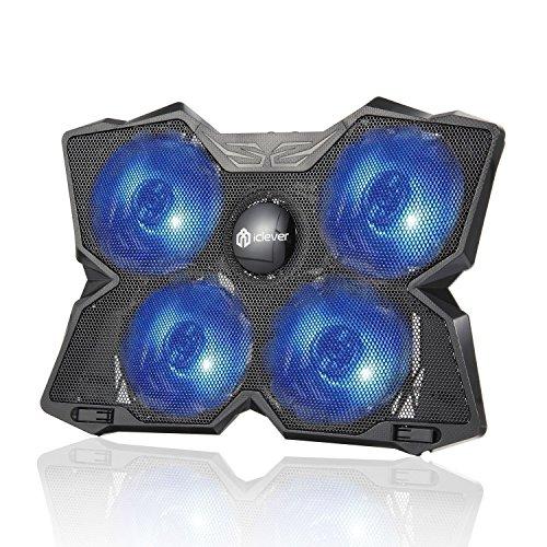 iclever Wind Refroidisseur PC Portable - Le Plus Puissant - Refroidissement Rapide - 4 Ventilateurs Support Ventil茅 Gamer Gaming Plaque (Bleu)