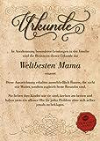 Urkunde für die Weltbeste Mama :: Geschenkkarte zum Geburtstag Weihnachten Muttertag