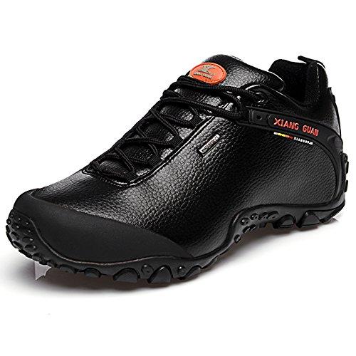 XIANG GUAN Herren Jungen Outdoor Schuhe Trekking Wander wasserabweisende Leder rutschfeste Turnschuhe 81996 Schwarz