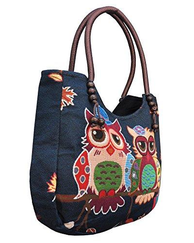 Damentasche Henkeltasche mit Reißverschluss ***EULE*** Shopper Schultertasche Eulenmotiv Umhängetasche - verschiedene Motive erhältlich - VINTAGE LOOK / absolut cool und stylish 42261