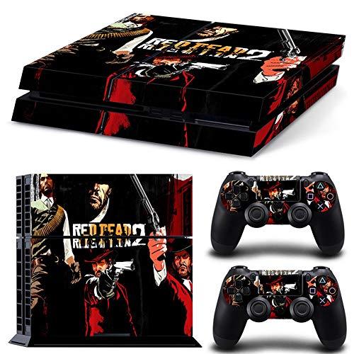 RemyCoo PlayStation 4 Populaires Red Dead Redemption 2 Autocollant En Peau De Couverture pour PS4 Console + 2 Peaux Pour Contrôleurs PS4 – noir