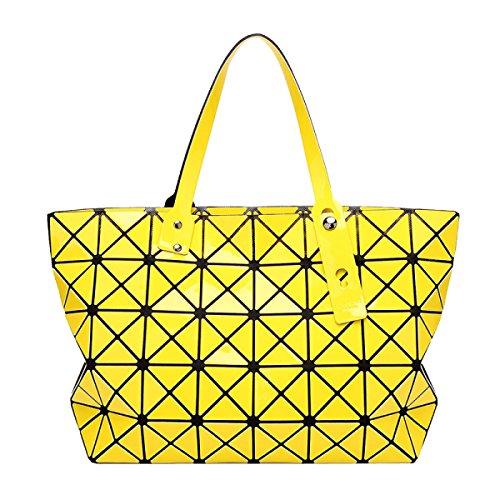 Sacchetto Di Spalla Di Cuoio Dell'unità Di Elaborazione Di Tote Della Grata Geometrica Di Modo Delle Donne Yellow