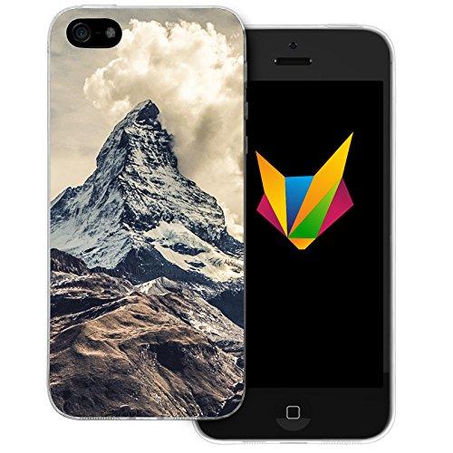 Mobilefox Berge transparente Silikon TPU Schutzhülle 0,7mm dünne Handy Soft Case für Apple iPhone 5/5S/SE Berggipfel - Cover Gel Hülle (5 Iphone Gel Case Handy)