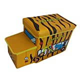 Kids Children's Ottoman /Yellow Safari Bus /~ Storage Box Toy Storage Box Room Tidy Chest Box Trunk Seat Stool.