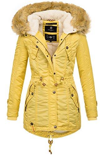 Navahoo warme Damen Winter Jacke Teddyfell Winterjacke Parka Mantel B399 (L, Gelb)