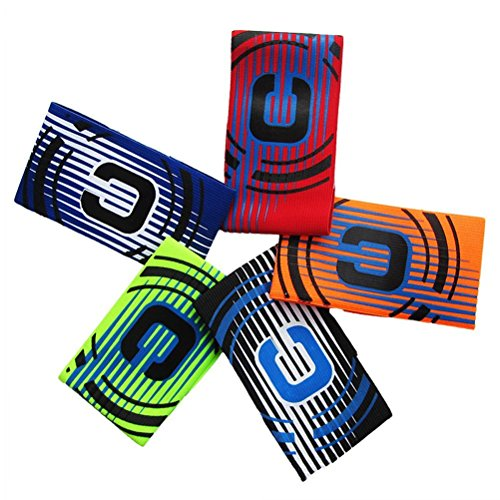 Firelong Soccer Football Captain Armband Elastic Captain s Armband for Youth and Adult - Pack of 5