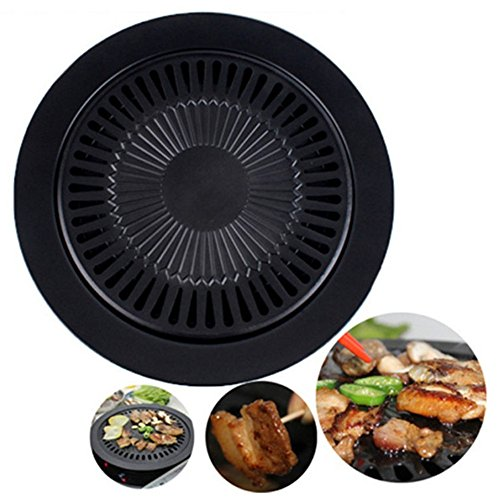 Barbecue Non-Stick Plate Baokee Round Iron Korean BBQ Grill Plate Barbecue Non-stick Pan Set with Holder Set