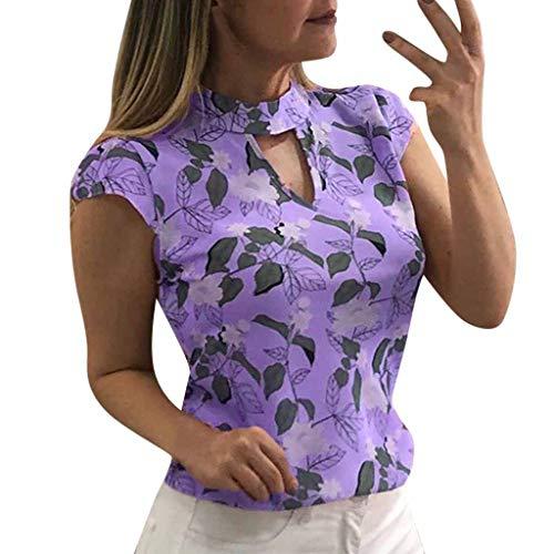 Damen Bluse Onlmesa Rovinci Blumen Druck Choker Top Casual Sommer Kurzarm T-Shirt V-Ausschnitt Tops Floral Tunika Oberteile Hemd Streetwear Tee Shirt