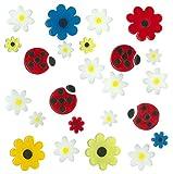 MagicGel Fensterbilder - Marienkäfer und Blumen