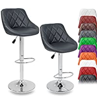 TRESKO 2 x Bar Stools Set with Backrest | Leatherette Exterior | Height Adjustable and Adjustable Swivel Gas Lift | Chrome Footrest | Available in 10 Colors (2x Grey)