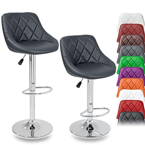 TRESKO Set di 2 Sgabelli-Bar Moderni, Sedia Bar, Sgabello Lounge con Schienale, 10 Colori Diversi, Cromato, Rotazione Libera a 360 °, la Regolazione in Altezza dei sedili 60,0-80,0 cm (2X Grigio)
