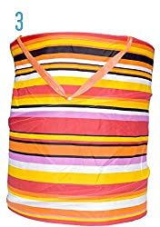 Multipurpose Foldable & Collapsible Pop-Up Round Laundry Bag Basket with Zippered Lid and Carry Handle (3.multicolour)