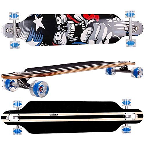 FunTomia Longboard Skateboard Drop Through Cruiser Komplettboard mit Mach1 High Speed Kugellager T-Tool mit und ohne LED Rollen -