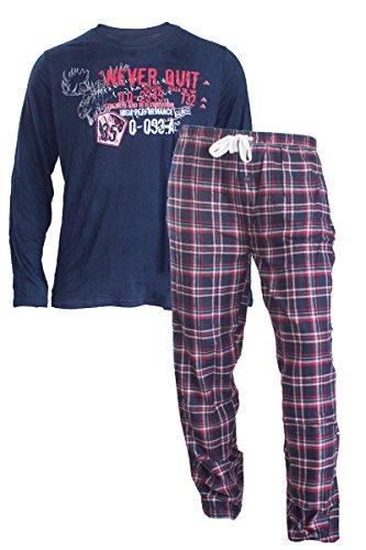 Herren Flanell Pyjama Schlafanzug Nachtwäsche Oberteil + Hose (L 52/54, Blau) (Flanell Schlaf-hose Herren)