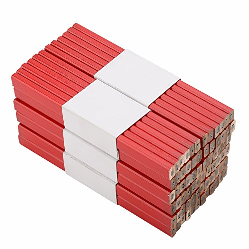 Lápices de carpintero - 72pcs 175mm Lápiz de carpintero octagonal rojo duro, negro duro, herramienta de marcado de carpintería