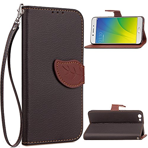 Oppo R9s Case, Happon Luxury PU Leather Wallet Flip Protective Phone case Case Cover with Card Slots and Stand for Oppo R9s Black
