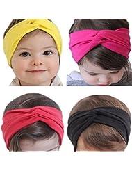 Encantador bebé niña nuevo turbante diadema cabeza envolver anudada pelo Band(4 pcs a set) , c