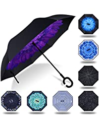 Paraguas invertido innovador, paraguas invertido doble de la capa,paraguas reverso de los coches creativos rectos impermeables y parados