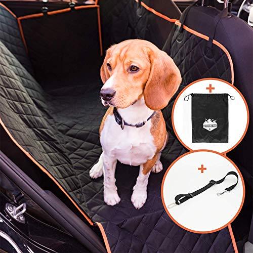 Adventure Paws Autoschondecke für Hunde - Rücksitz Hundedecke geeignet für alle Autos - Praktische Rückbank Hundeschondecke für Absolute Sauberkeit - inklusive Aufbewahrungstasche & Hundegurt
