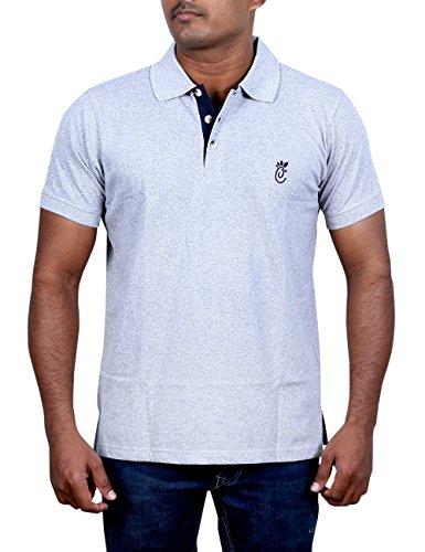 Cats n Meows Men's Premium Cotton Solid Polo T-Shirt Contrast Placket (Off...