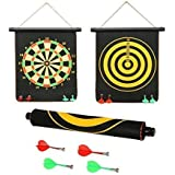 Foldable Hanging High Magnetic Field Dart Board Targeting Game Set, Double Faced Portable And Reversible , Rollable Strong And Powerful Magnetic Board WIth Non Pointed Magnetic Darts