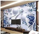 3D Hintergrundbild Wallpaper Wandbild Seidentuch Chinesische Blaue Und Weiße Porzellan Stereo-Fernsehsofa-Hintergrundwand 3D,300X210Cm,Ayzr