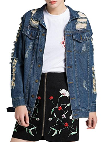 GRMO-Women Boyfriend Biker Plus Size Denim Distressed Jacket