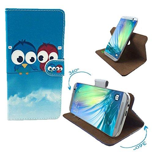 ZTE Kis 3 Max Smartphone Tasche / Schutzhülle mit 360° Dreh und Standfunktion - 360° Eule 2 Nano S