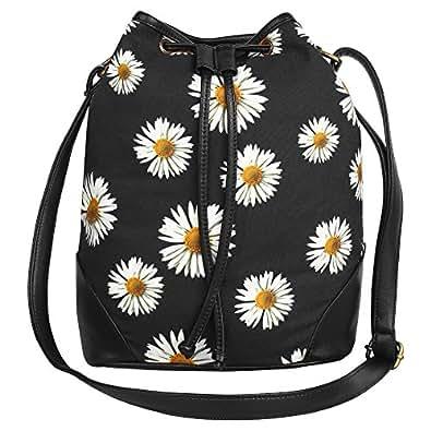 Lychee BagsCanvas Shaun Sling Bag for Girls (Black)