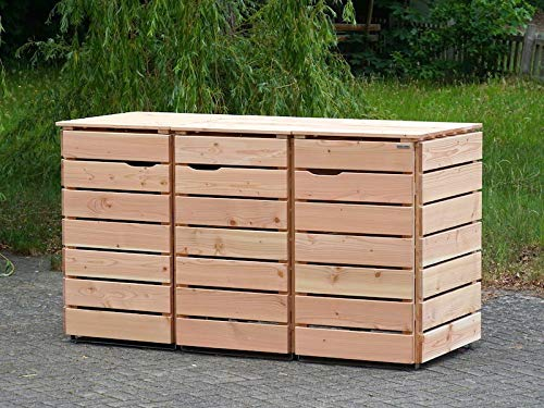 3er Mülltonnenbox / Mülltonnenverkleidung 240 L Holz, Douglasie Natur - 3