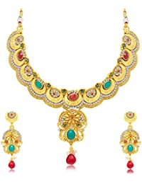 Sukkhi Glittery Gold Plated Choker Necklace Set For Women