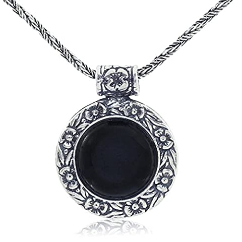 Antique Look Black Onyx Pendant Round Floral Design 925 Sterling Silver Gemstone Necklace, 20