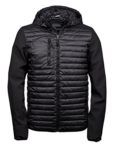 Tee Jays Mens Hooded Crossover Jacket Black-Black