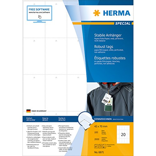 Preisvergleich Produktbild Herma 6871 Anhänger (A4 Papier /Folie /Papier, 41 x 70 mm) 2000 Stück weiß