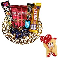 Valentines Day Chocolate Gift | Valentine's Day Gift Combo for Him, Her, Husband, Wife, Loved Ones, Girl Friend | Valentine Heart Teddy Bear | Valentine Chocolate Hamper | 1147