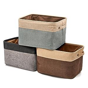 EZOWare Faltbare Aufbewahrungsbox aus Leinen Aufbewahrungskorb mit Griffen - 3er Set (Sortierte Farbe)