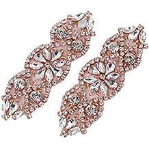 (2 piezas) Boda nupcial de Cristal de Diamante de Imitacion Cinturon de Faja Apliques